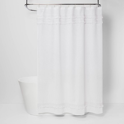 Macramé Fringe Shower Curtain Cream - Threshold™