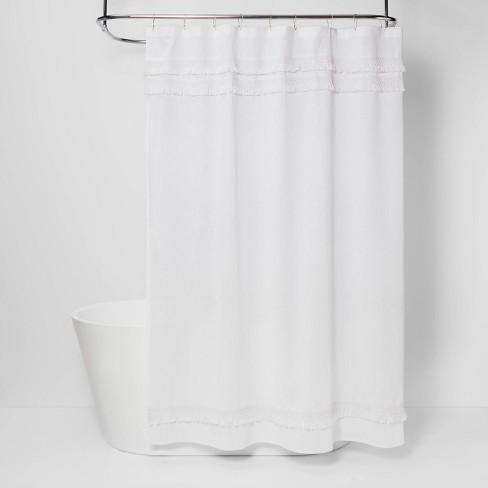 Macramé Fringe Shower Curtain Cream - Threshold™ - image 1 of 4