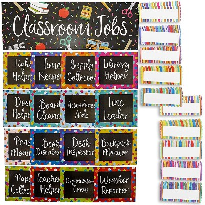 17-Piece Chalkboard Design Classroom Jobs Chart Set for Bulletin Board and 50 Blank Name Tags