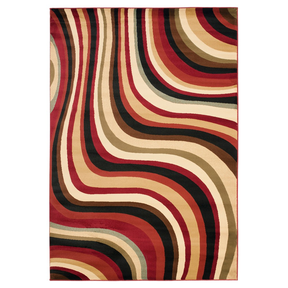 Red/Multi Abstract Tufted Area Rug - (5'3