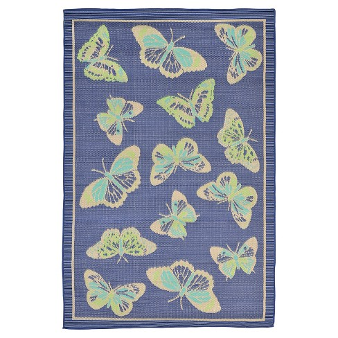 "Playa Indoor/Outdoor Butterfly Cool Rug 4'10""X7'6"" Blue - Liora Manne - image 1 of 1"