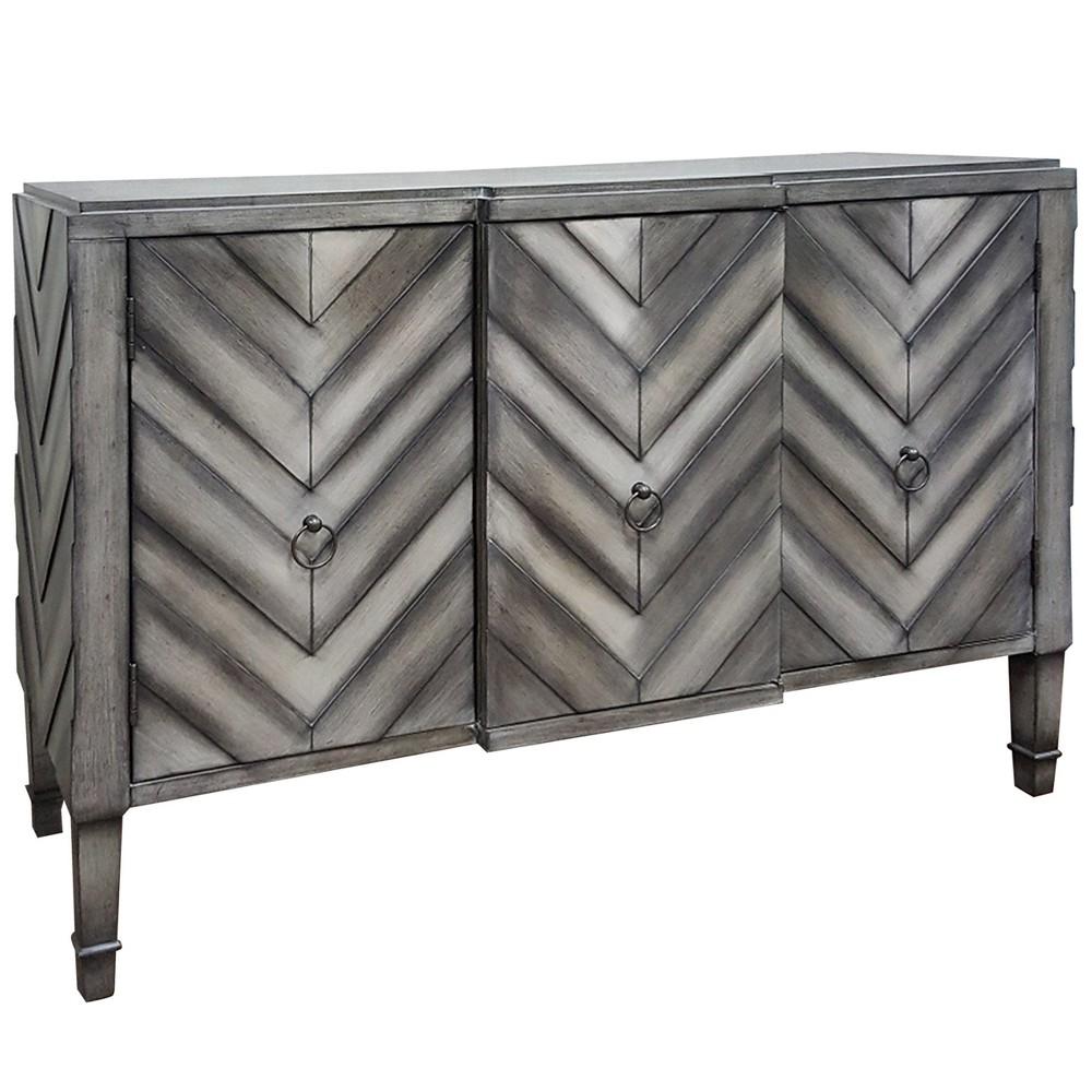 Image of 3 Door Chevron Console Table Modern Gray - Stylecraft