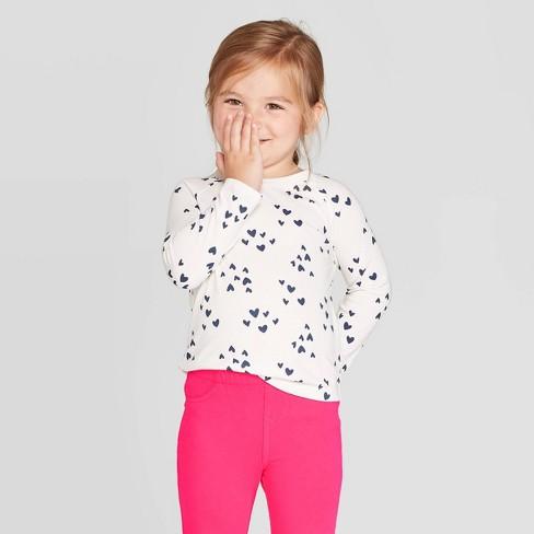 Toddler Girls' Long Sleeve Heart T-Shirt - Cat & Jack™ Cream - image 1 of 3