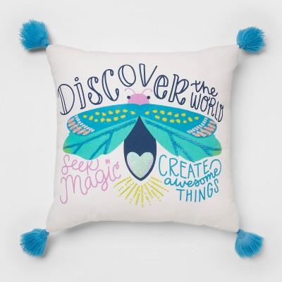 Discover The World Throw Pillow White - Pillowfort™