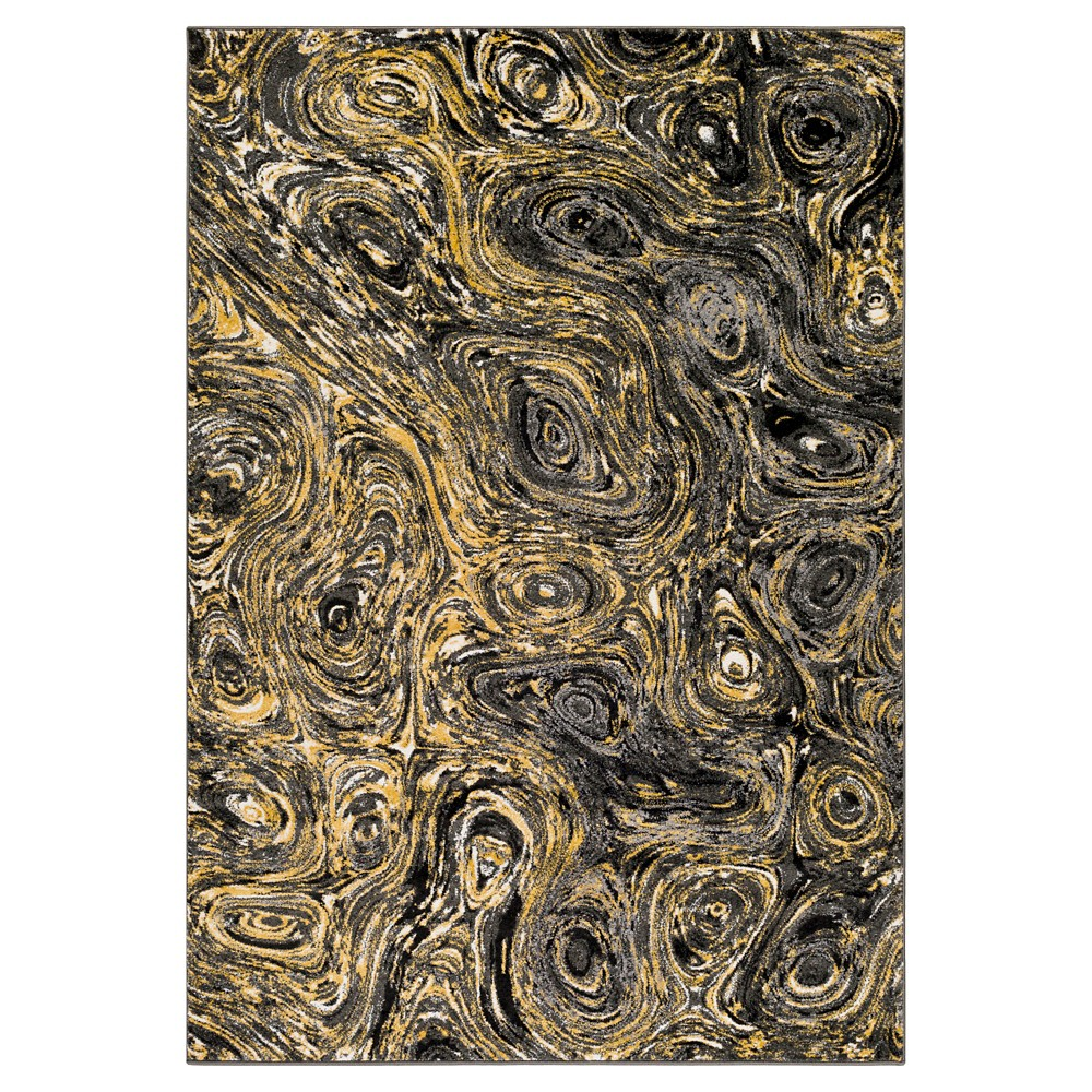 Yellow Abstract Tufted Area Rug - (5'3