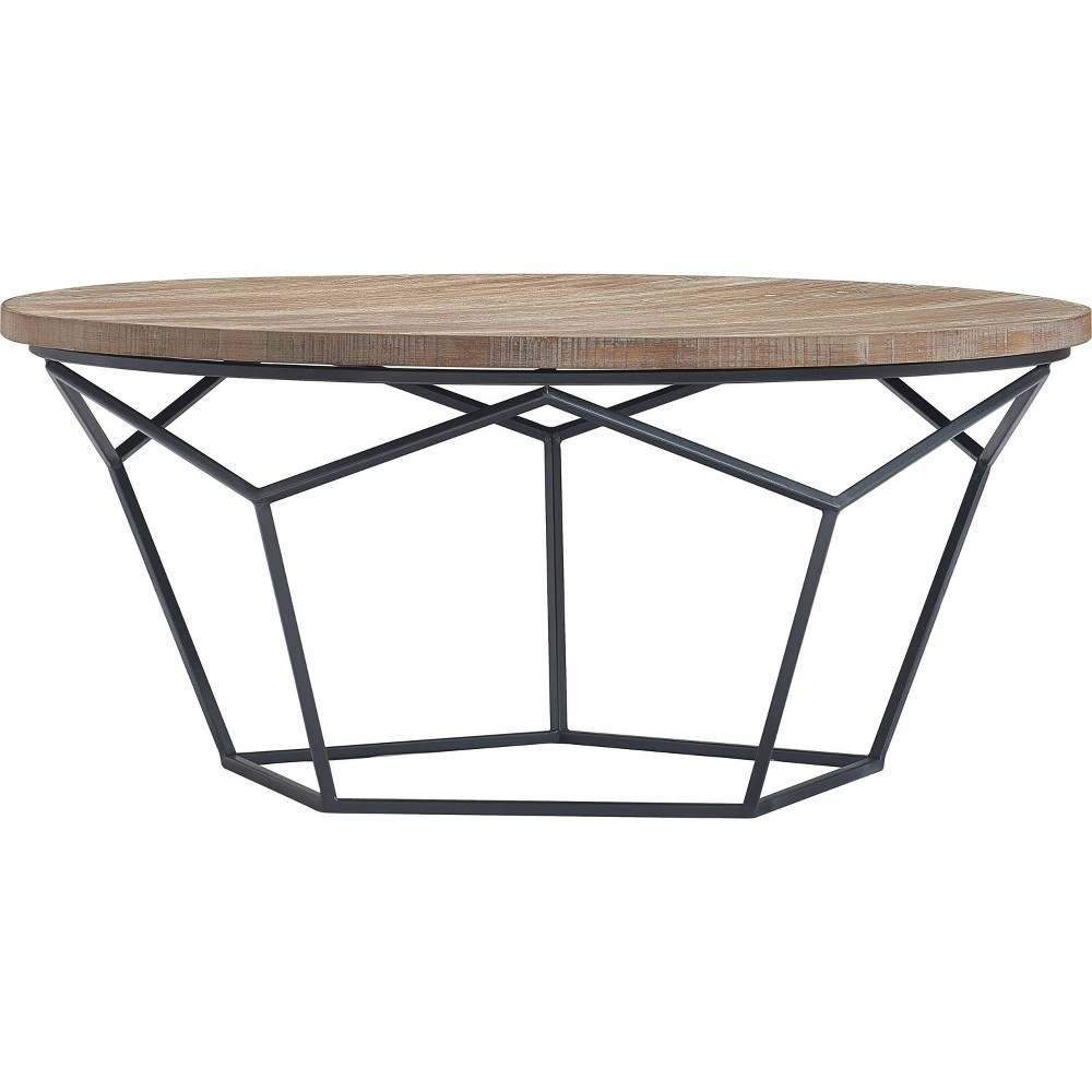 Image of Avion Round Geometric Wood and Metal Coffee Table Wood - Finch, Brown