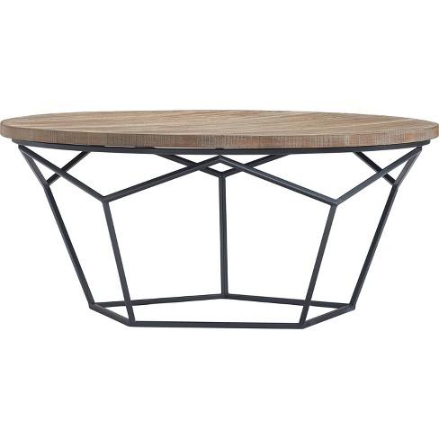 Avion Round Geometric Wood And Metal Coffee Table Wood Finch Target