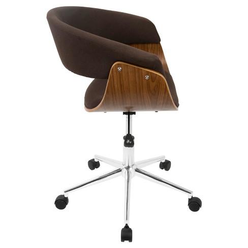 Vintage Mod Mid Century Modern Office Chair Walnut Espresso