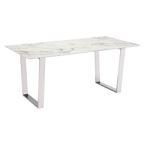 Modern Rectangular Faux Marble Dining Table Stone Brushed Stainless Steel Zm Home Target