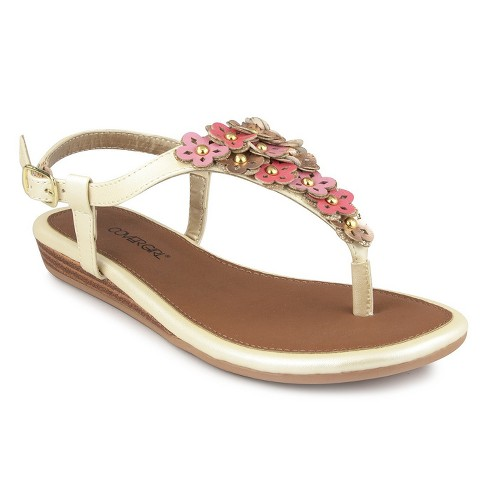 Girls' CoverGirl Penny Wedge Floral Hooded Thong Sandal - Rosegold - image 1 of 3