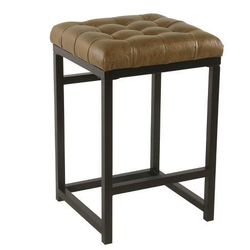Strange 24 Hayden Open Back Metal Counter Stool Light Brown Faux Leather Homepop Forskolin Free Trial Chair Design Images Forskolin Free Trialorg