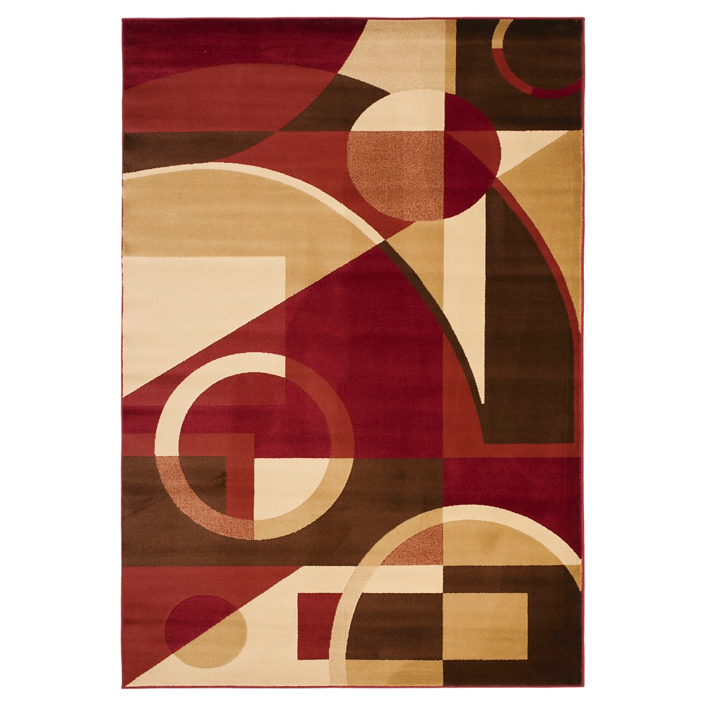 Red/Multi Abstract Loomed Area Rug - (6'7