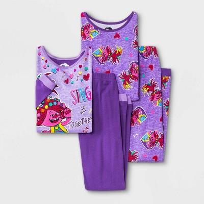 Girls' Trolls 4pc Pajama Set - Purple