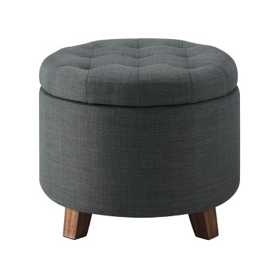 Tufted Round Storage Ottoman - Charcoal - Threshold™