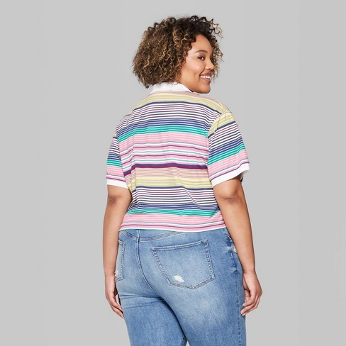 53a38191015ca Women s Plus Size Striped Short Sleeve V-Neck Boxy Polo Shirt - Wild Fable™  Pink Purple. Shop all Wild Fable™