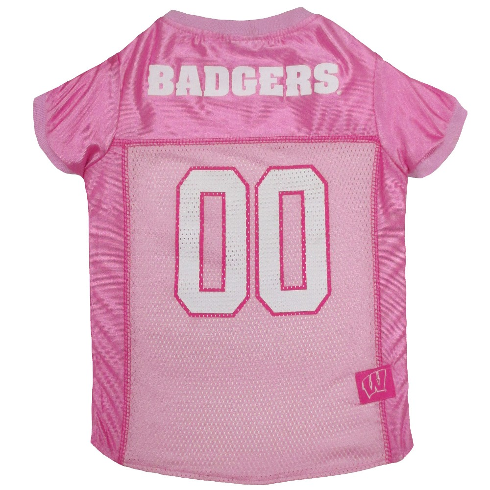 Pets First Pink Wisconsin Badgers Basketball Jersey - S, Multicolored