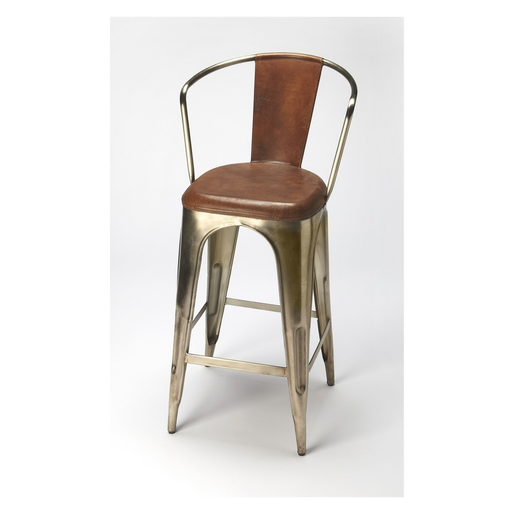 Butler Specialty Roland Iron And Leather Barstool Brown Leather