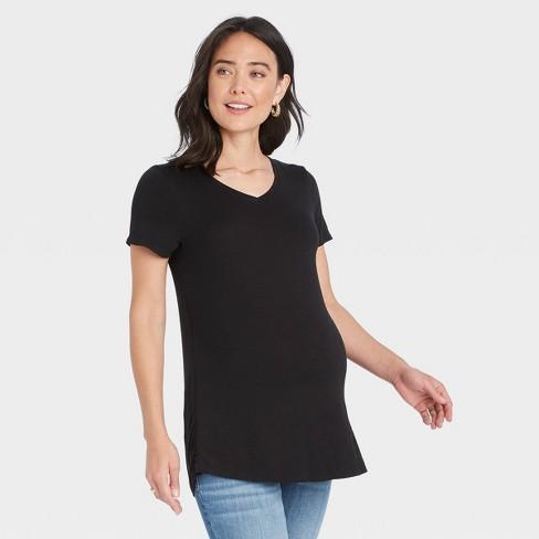 Short Sleeve V-Neck with Side Zip Nursing Maternity T-Shirt - Isabel Maternity by Ingrid & Isabel™ - image 1 of 3
