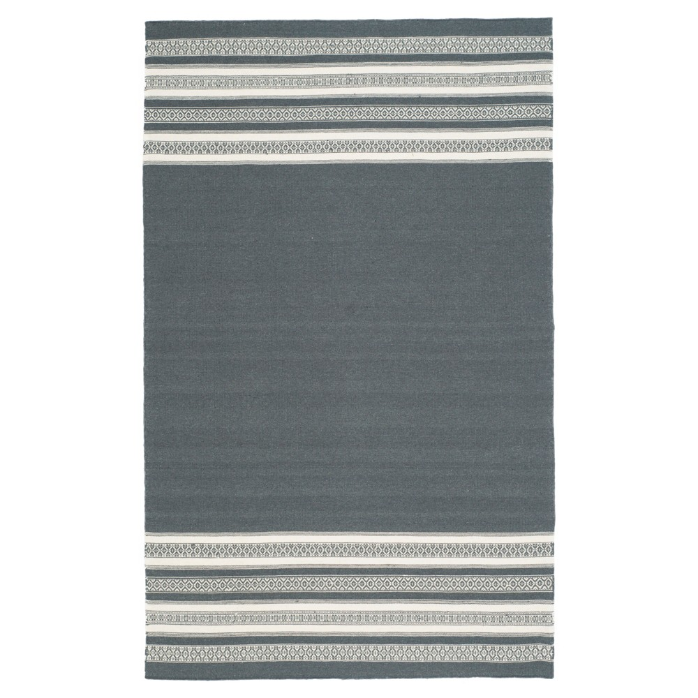 Porter Dhurrie Area Rug - Dark Gray (5' X 8') - Safavieh