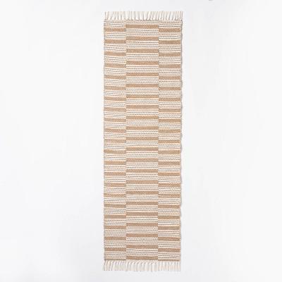 """2'4""""x7' Runner Rossmoor Indoor/Outdoor Plaid Scatter Rug Tan - Threshold™ designed with Studio McGee"""
