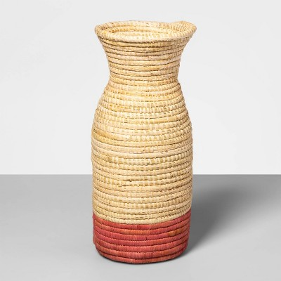 "12"" x 5.2"" Hand Woven Raffia Vase Pink - All Across Africa for Opalhouse™"