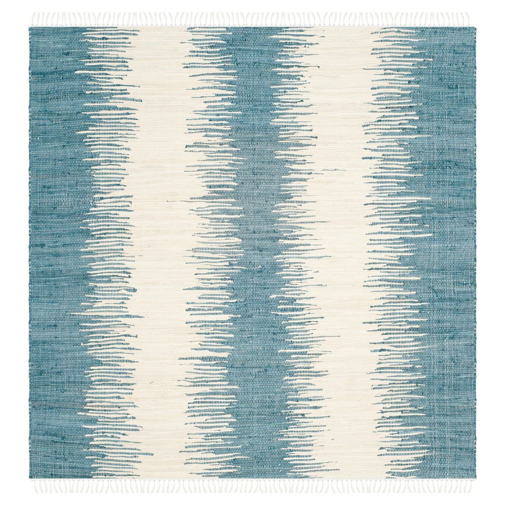 Flatweave Ikat Stripe Area Rug - Blue (6' Square) - Safavieh
