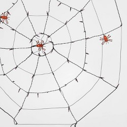 "60"" Incandescent Spider Web with Spiders Halloween Silhouette Light Orange - Hyde & EEK! Boutique™"