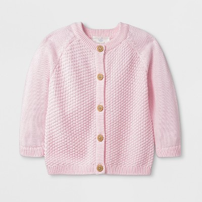 Baby Girls' Solid Sweater - Cloud Island™ Pink 0-3M
