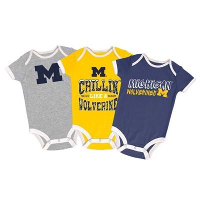NCAA Michigan Wolverines Baby Boys' Short Sleeve 3pk Bodysuit Set