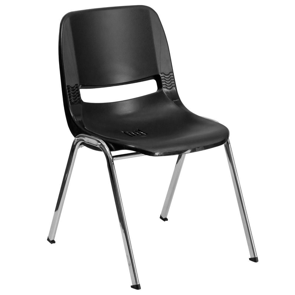 Riverstone Furniture Collection Plastic Stack Chair Black
