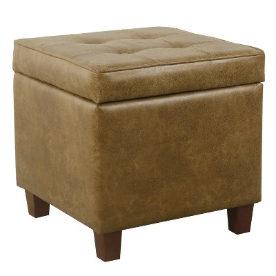 Square Tufted Faux Leather Storage Ottoman - Homepop