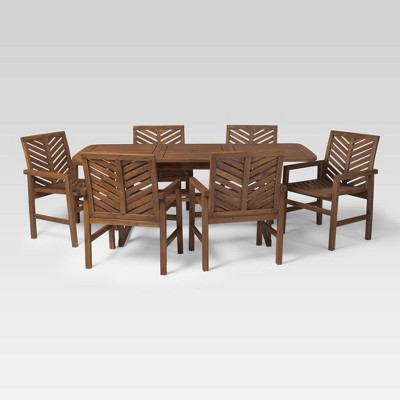 7pc Extendable Outdoor Patio Dining Set Dark Brown - Saracina Home