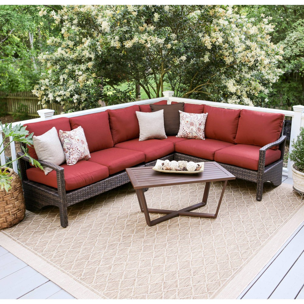 Augusta 5pc Wicker Corner Sectional - Red - Leisure Made