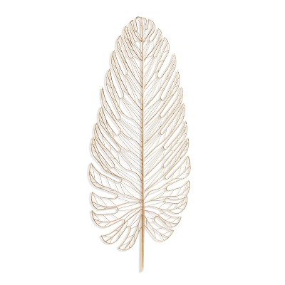 Aiden Lane 20.25 x42  Rahu Metal Feather Decorative Wall Sculpture Gold