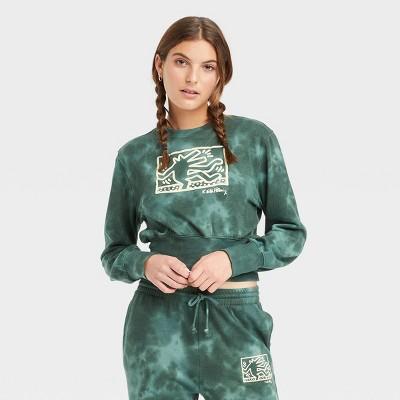 Women's Keith Haring Wide Rib Graphic Sweatshirt - Green Tie-Dye