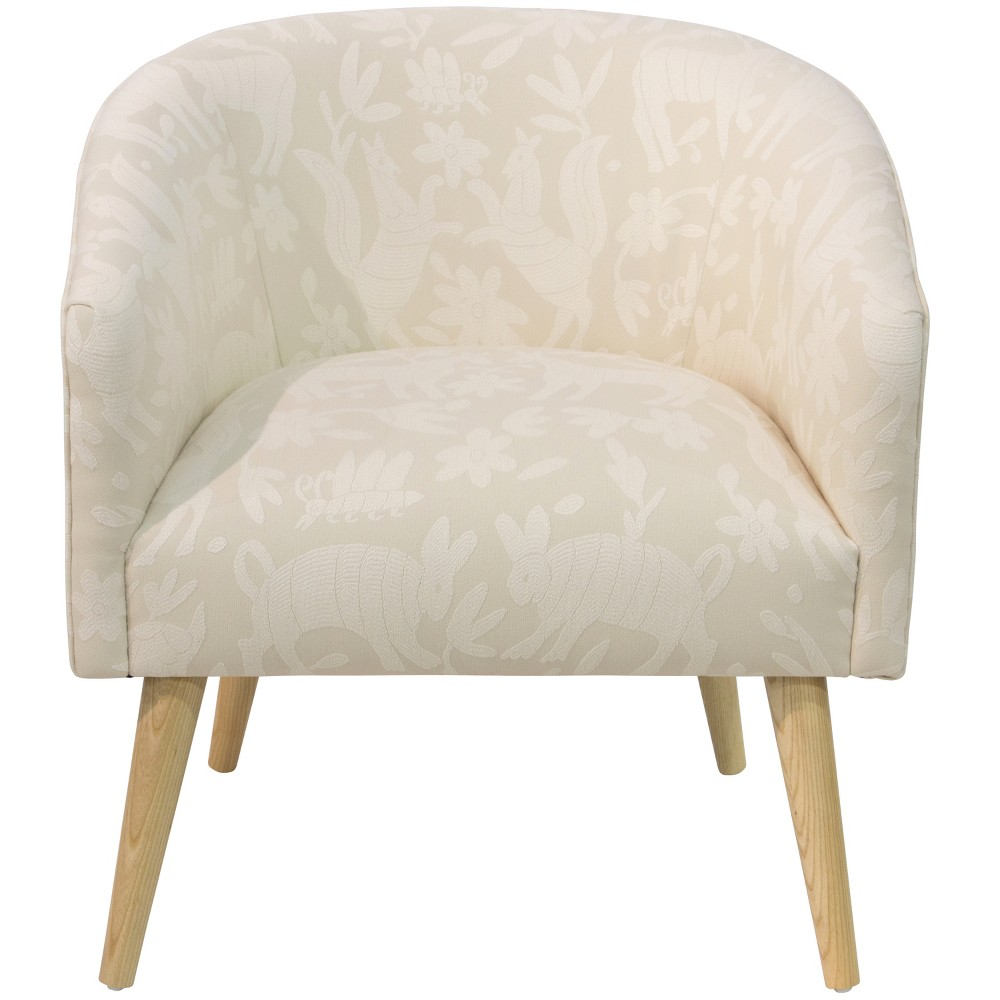 Natalee Chair Cream Animal Icon Print With Natural Legs Skyline Furniture