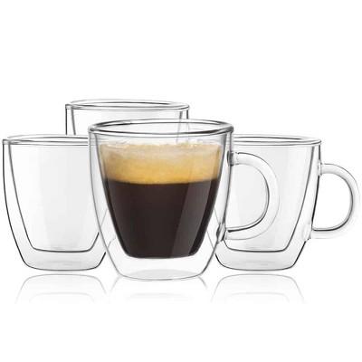 JoyJolt Savor Double Wall Insulated Glasses Mugs - Set of 4 Espresso Mugs - 5.4 Ounces