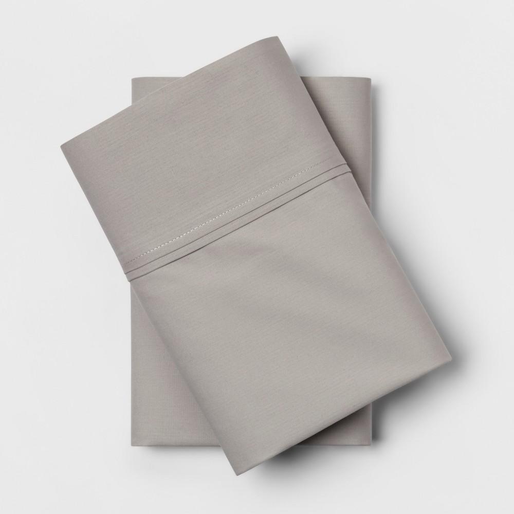 Standard 300 Thread Count Solid Organic Pillowcase Set Light Gray - Threshold