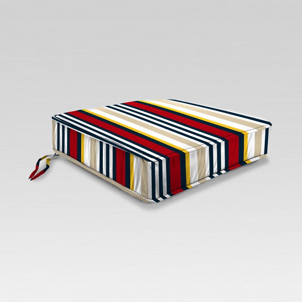 Outdoor Boxed Edge Seat Cushion - Red/Cream Stripe - Jordan Manufacturing