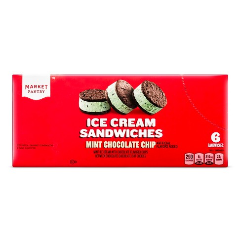 Mint Chocolate Cookie Ice Cream Sandwich - 6ct/27oz - Market Pantry™ - image 1 of 1