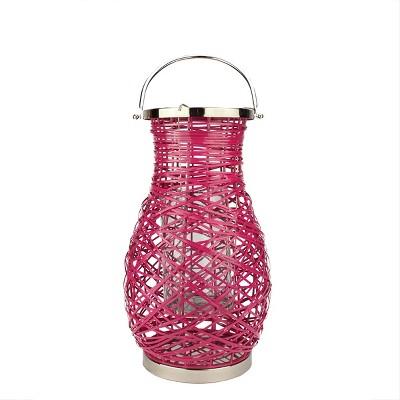 "Northlight 18.5"" Modern Fuchsia Pink Decorative Woven Iron Pillar Candle Lantern with Glass Hurricane"