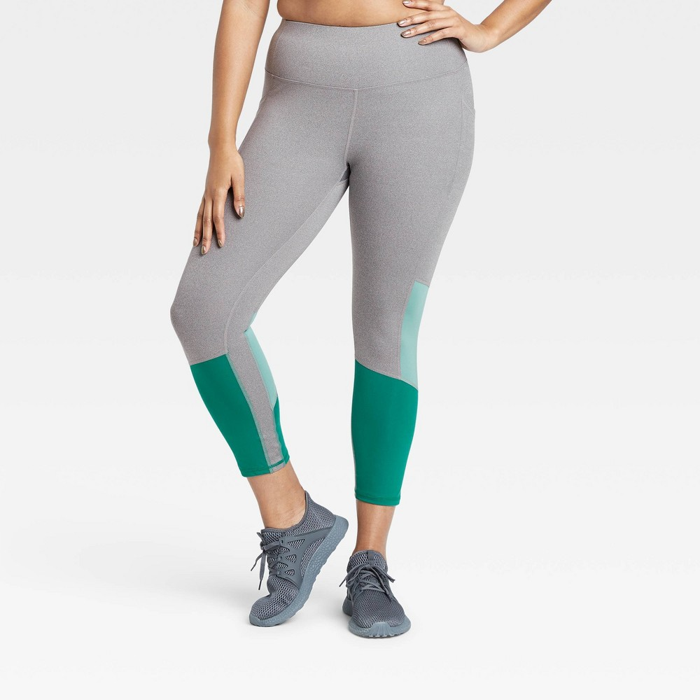 Women's Sculpted High-Rise Colorblock 7/8 Leggings 24 - All in Motion Charcoal Gray/Turquoise XS, Grey Gray/Turquoise was $32.0 now $22.4 (30.0% off)