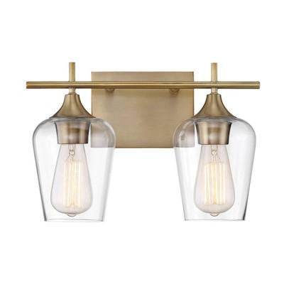 2 Light Bath Sconce Warm Brass - Aurora Lighting