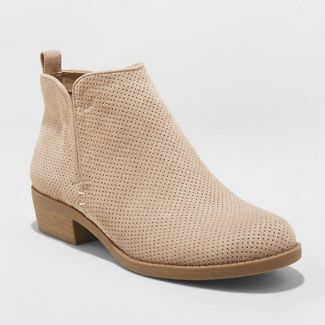 Women's Dylan Microsuede Laser Cut Bootie - Universal Thread™ Taupe 8.5