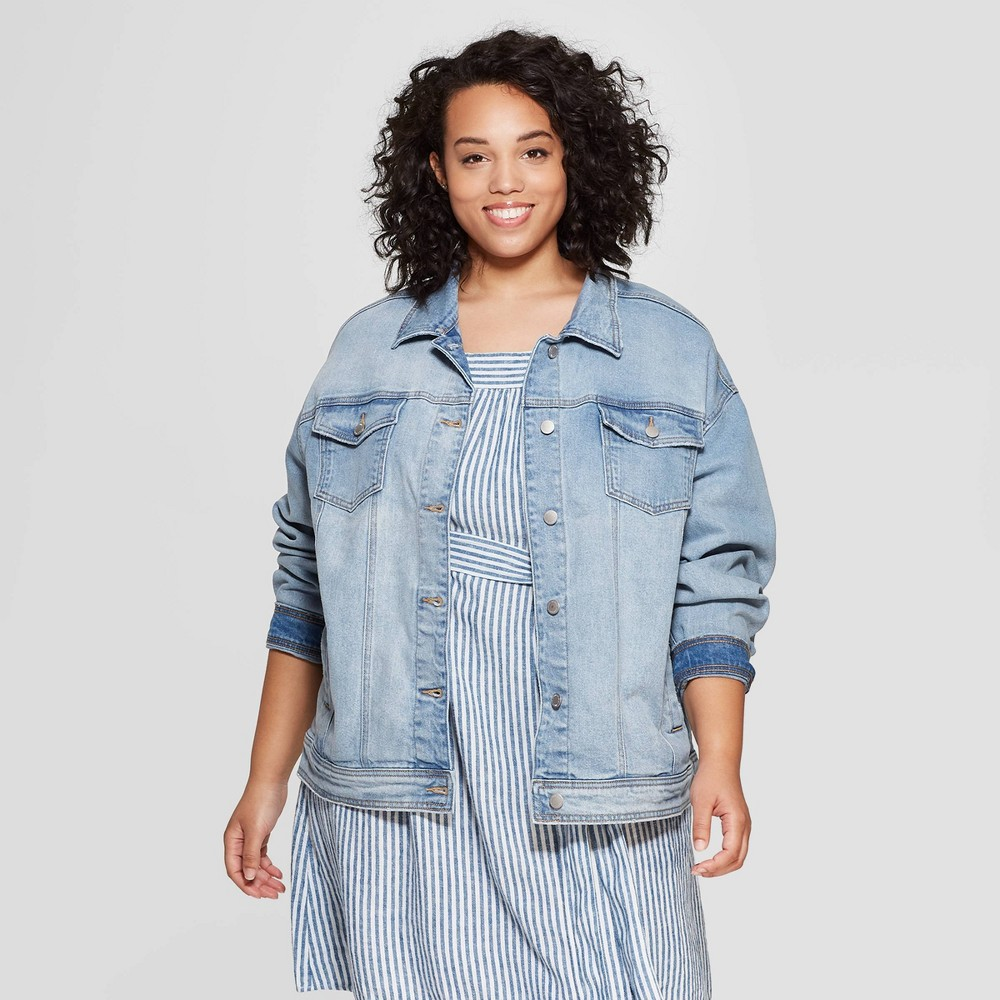 Women's Plus Size Denim Jacket - Universal Thread Light Blue X