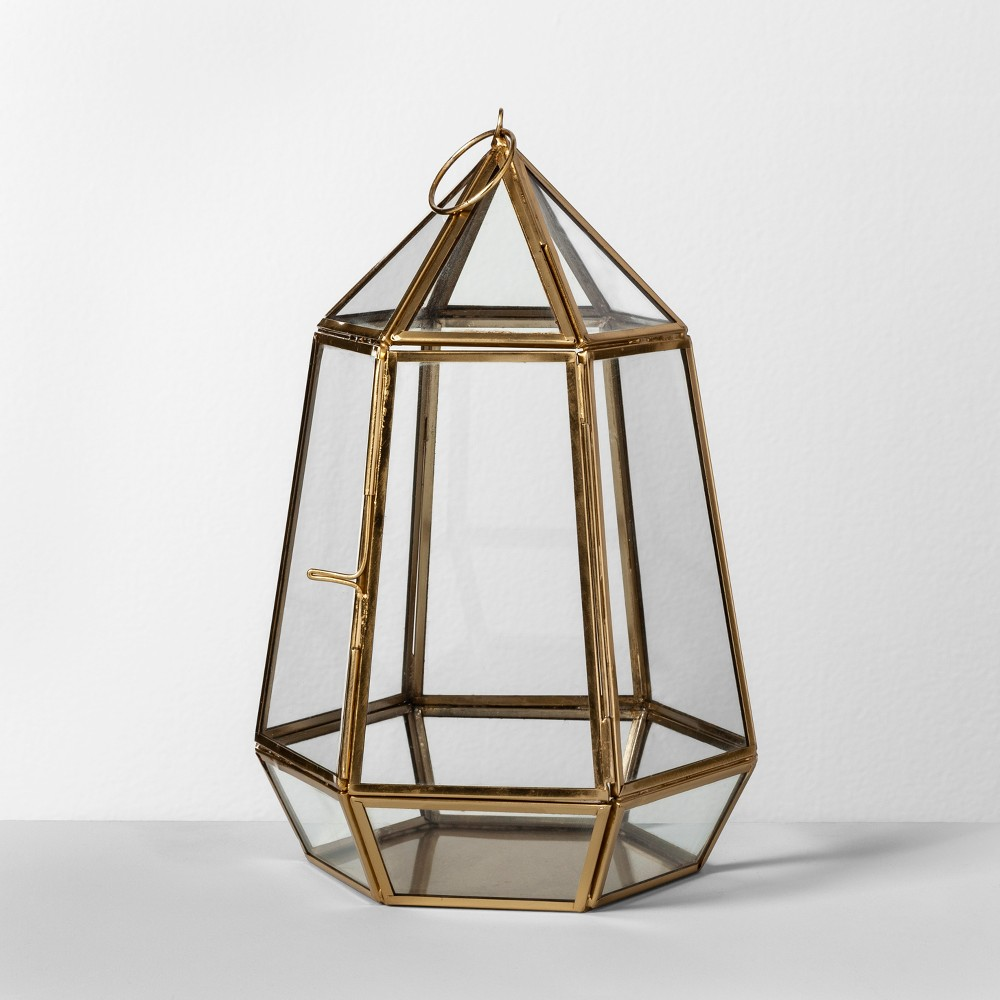 """Image of """"10"""""""" x 6.4"""""""" Brass And Glass Parasol Terrarium Gold - Opalhouse"""""""