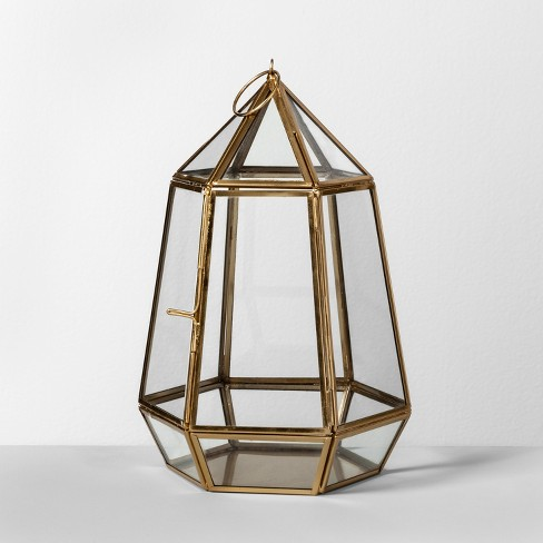 "10"" x 6.4"" Brass And Glass Parasol Terrarium Gold  - Opalhouse™ - image 1 of 2"