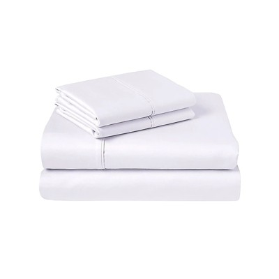 Pemberly Row 800 Thread Count Queen 4 Piece Cotton Bedding Sheet Set in White