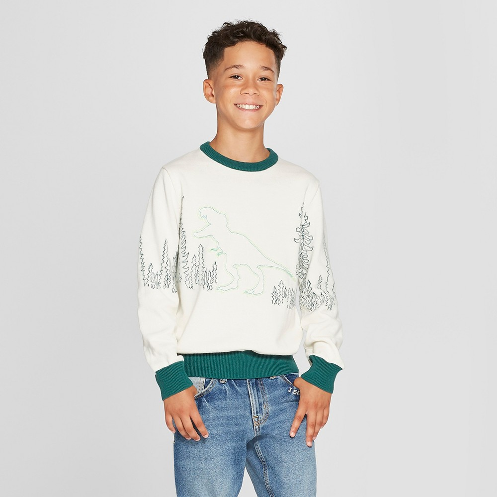 Boys' Pullover Sweater - Cat & Jack Cream XS, White