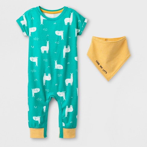 Baby Girls' 2pc Llama Romper and Bib Set - Cat & Jack™ Light Green - image 1 of 1